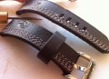 Heavy Duty Multi Stitch Leather Strap - Dark Brown